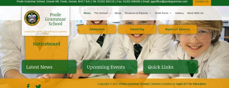 Screenshot of the Poole Grammar School website