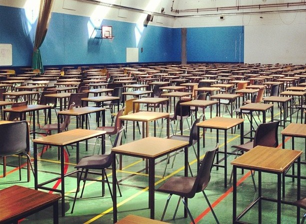 Photo of desks in an exam hall