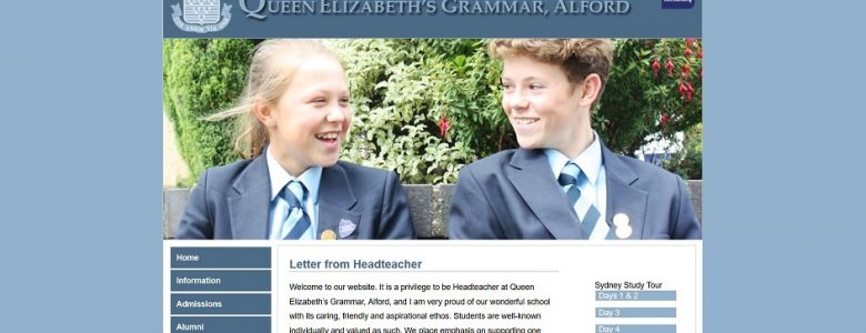 Screenshot of the Queen Elizabeth's Grammar School website
