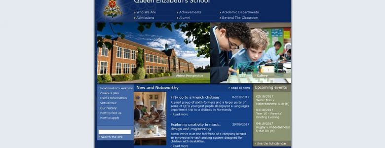 Screenshot of the Queen Elizabeth's School, Barnet website