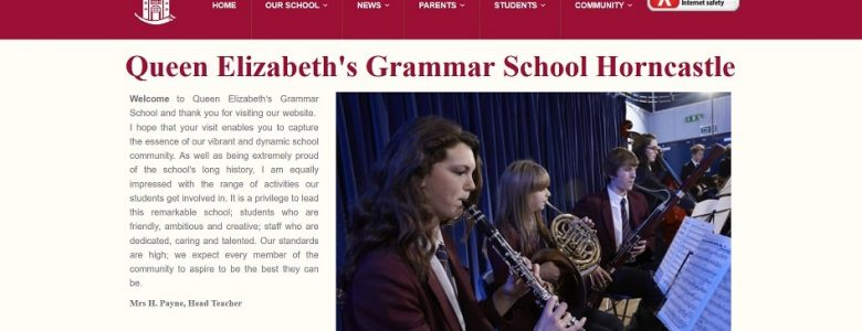 Screenshot of the Queen Elizabeth's Grammar School, Horncastle website