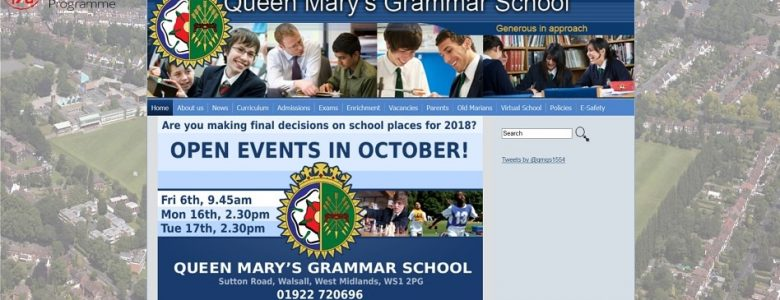 Screenshot of the Queen Mary's Grammar School website