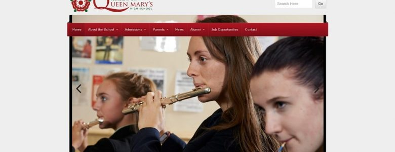 Screenshot of the Queen Mary's High School website