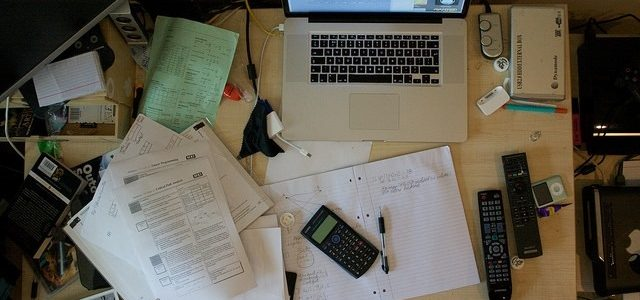 Photo of a student's desk