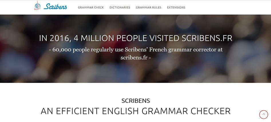 Screenshot of the Scribens website