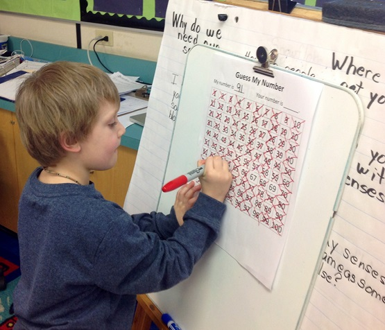 Photo of a boy working on a board