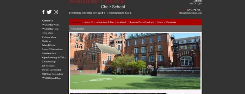 Screenshot of the Westminster Cathedral Choir School website