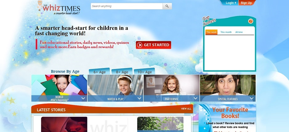 Screenshot of the WhizTimes website