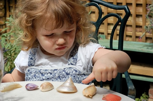 Photo of a girl counting shells