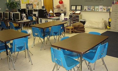 Photo of desks in a classroom