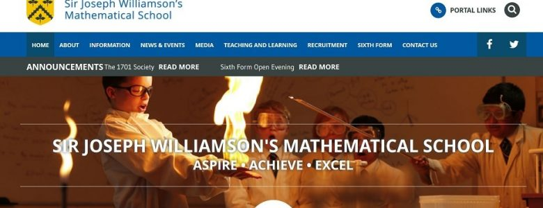 Screenshot of the Sir Joseph Williamson's Mathematical School website