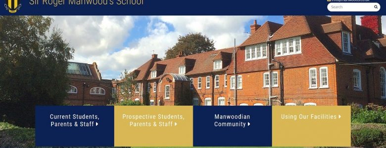 Screenshot of the Sir Roger Manwood's School website