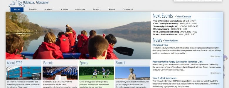 Screenshot of the Sir Thomas Rich's School website
