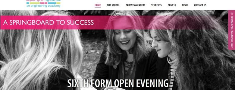 Screenshot of the Skipton Girls' High School website