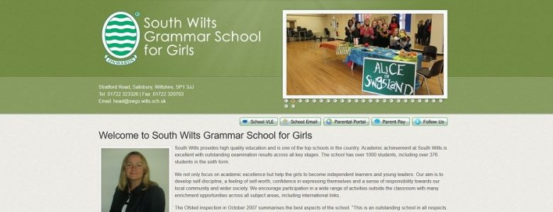 Screenshot of the South Wilts Grammar School for Girls website
