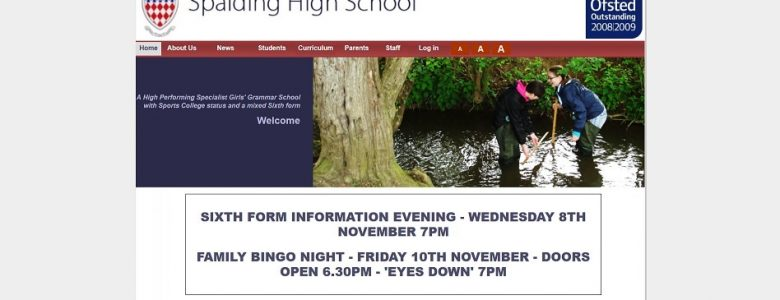 Screenshot of the Spalding High School website