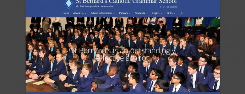 Screenshot of the St Bernard's Catholic Grammar School website