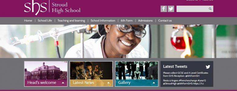 Screenshot of the Stroud High School website