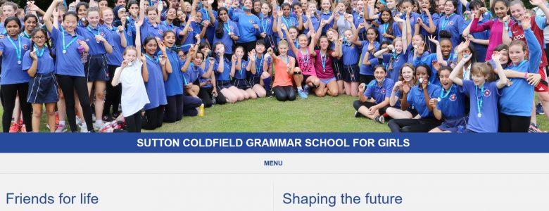 Screenshot of the Sutton Coldfield Grammar School for Girls website