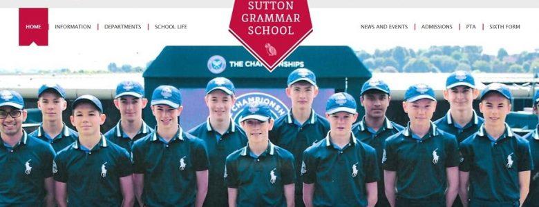 Screenshot of the Sutton Grammar School website