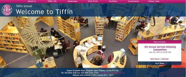 Screenshot of the Tiffin School website