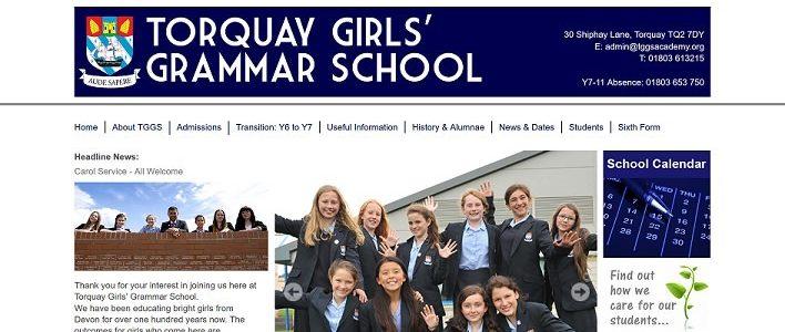 Screenshot of the Torquay Girls' Grammar School website