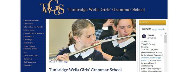 Screenshot of the Tunbridge Wells Girls' Grammar School website