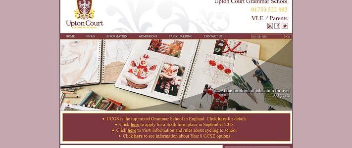 Screenshot of the Upton Court Grammar School website