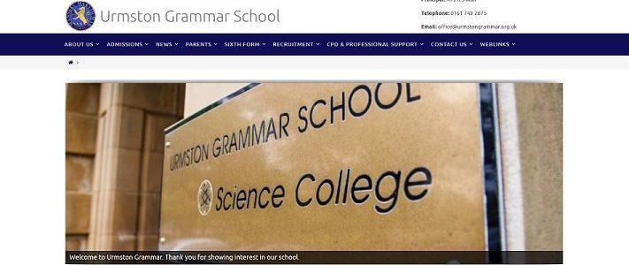 Screenshot of the Urmston Grammar School website