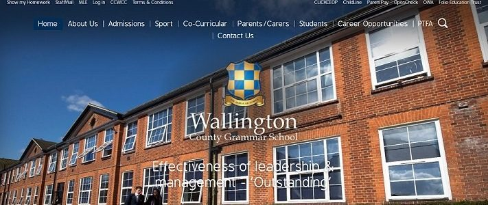 Screenshot of the Wallington County Grammar School website