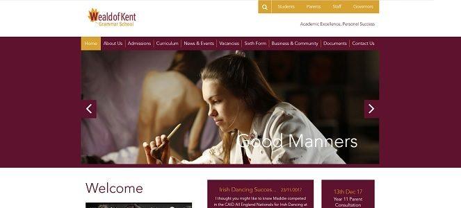 Screenshot of the Weald of Kent Grammar School website