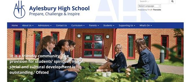 screenshot of the Aylesbury High School website