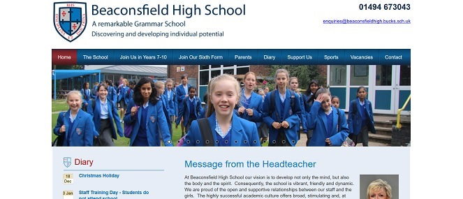 Screenshot of the Beaconsfield High School website