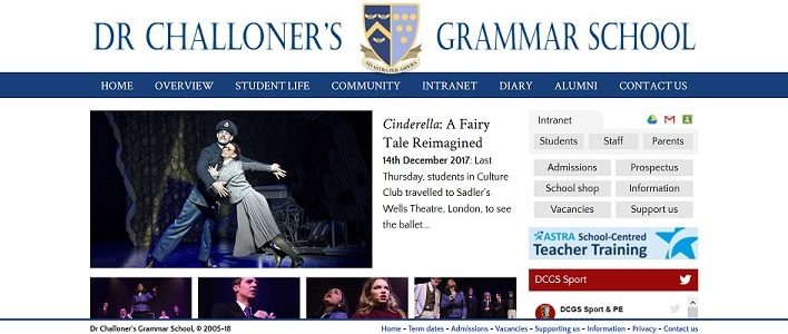 Screenshot of the Dr Challoner's Grammar School website