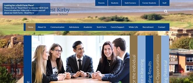 Screenshot of the West Kirby Grammar School website