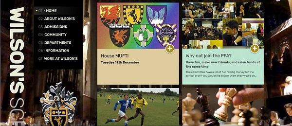 Screenshot of the Wilson's Grammar School website
