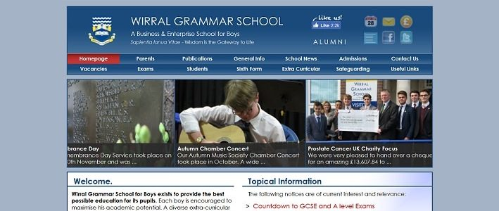 Screenshot of the Wirral Grammar School for Boys website