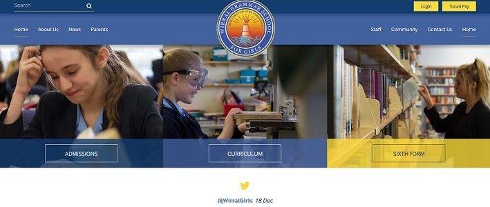 Screenshot of the Wirral Grammar School for Girls website