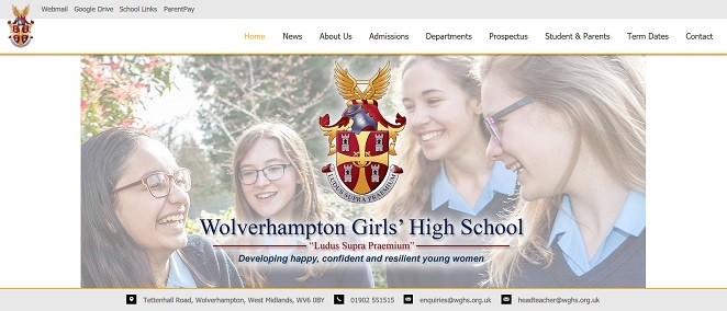 Screenshot of the Wolverhampton Girls' High School website