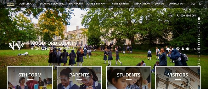 Screenshot of the Woodford County High School for Girls website