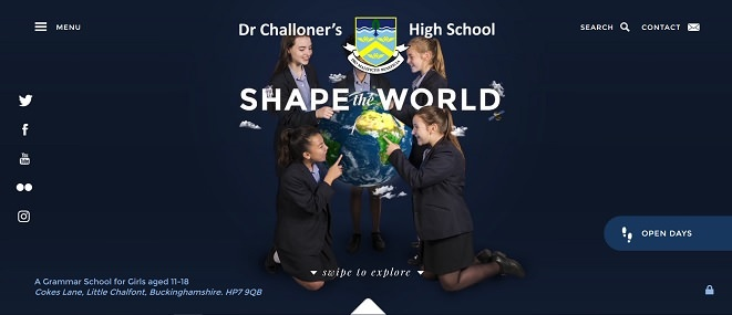 Screenshot of Dr Challoner's High School website