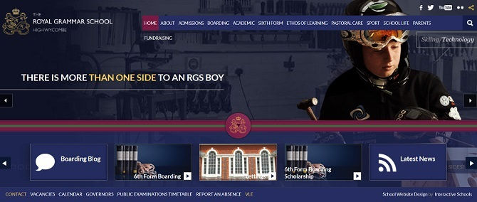 Screenshot of the Royal Grammar School High Wycombe website