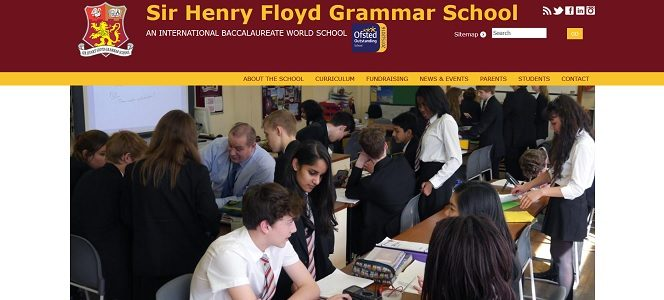 Screenshot of the Sir Henry Floyd Grammar School website