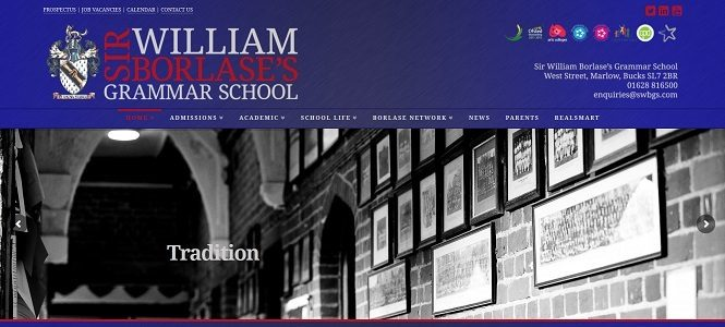 Screenshot of the Sir William Borlase's Grammar School website