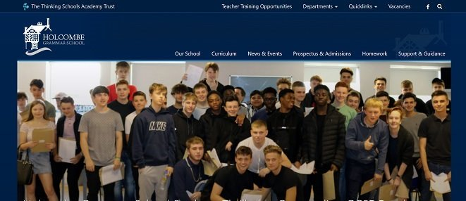 Screenshot of the Holcombe Grammar School for Boys website