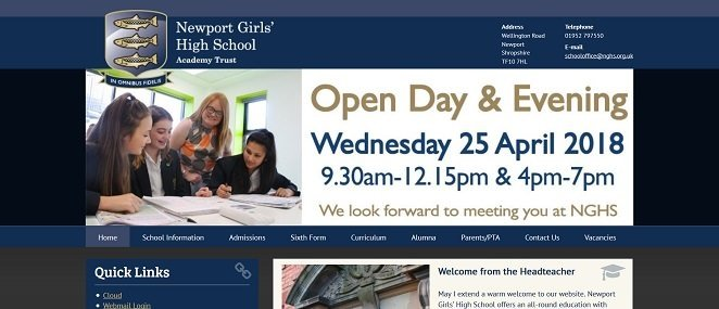 Screenshot of the Newport Girls' High School website