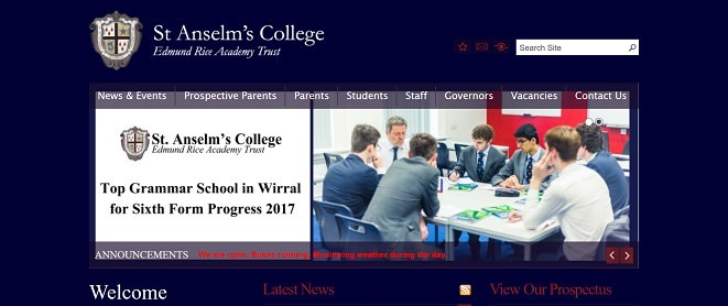 Screenshot of the St. Anselm's College school website