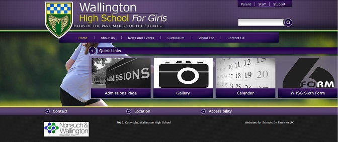 Screenshot of the Wallington High School for Girls website