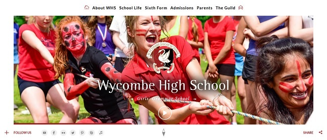 Screenshot of the Wycombe High School website