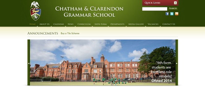 Screenshot of the Chatham and Clarendon Grammar School website